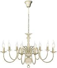 Antique White Metal Chandelier 8 x E14 Bulbs