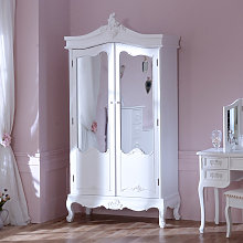 Antique White Mirrored Double Wardrobe - Pays