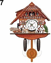 Antique Wooden Cuckoo Wall Clock Bird Time Bell
