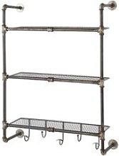 Antiqued Metal Wall Shelf Unit