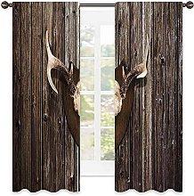 Antler Decor Bedroom rod pocket blackout curtain,