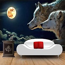 Any Size Large Wallpaper Mural Moonlight Wolf