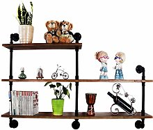 AOIWE Bookcase Solid Wood Wall Partition Shelf as