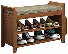 AOLI 2 Tier Shoe Cabinet for Entryway, Bamboo Shoe