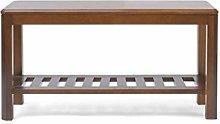 AOLI Entrance Shoe Bench, Wooden Storage Rack,