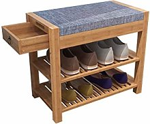 AOLI Entryway Shoe Bench, Bamboo Shoe Cabinet with