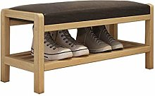 AOLI Large Entryway Shoe Bench, Solid Wood Shoe
