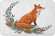 AoLismini Bath Mat Cute Red Fox Pine Branch Cones
