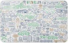 AoLismini Bath Mat Farm Drawings Collection