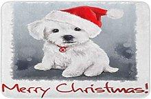 AoLismini Bath Mat Red Puppy Bichon Christmas