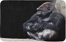 AoLismini Bath Mat Silver Animal Gorilla Gray