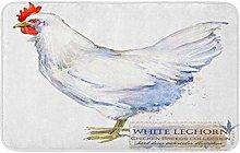AoLismini Bath Mat White Leghorn Hen Poultry