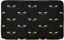 AoLismini Bath Mat Yellow 13Th Cat Golden Eye on