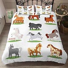 Aolomp 2/3Pcs Bedding Set 3D Cartoon animal horse