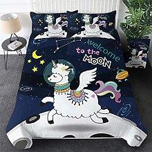 Aolomp 3D Bedclothes 2/3 pcs Cartoon unicorn