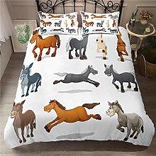 Aolomp 3D Bedding Set Cartoon animal horse Printed