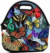 AOOEDM 3D Butterflies Wallpaper Lunch Bags for