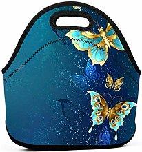 AOOEDM Gold Butterflies Lunch Bags for Women