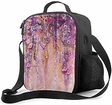 AOOEDM Lunch Bag Insulated Lunch Box Pink Purple