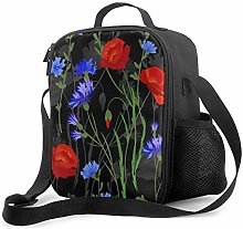 AOOEDM Lunch Bag Insulated Lunch Box Poppy Purple