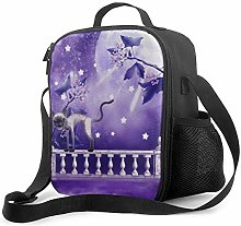 AOOEDM Lunch Bag Insulated Lunch Box Purple Moon