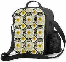 AOOEDM Lunch Bag Insulated Lunch Box White Yellow