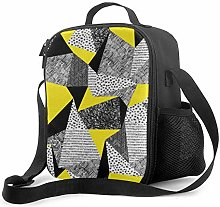 AOOEDM Lunch Bag Insulated Lunch Box Yellow Grey