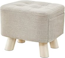 AOTEMAN Small Stool Footstool Linen Upholstered