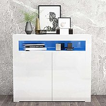 Apelila High Gloss Sideboard Storage Cabinet Tall