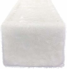 Apofly Christmas Table Runner, Snowy White Faux