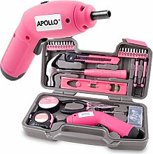 Apollo 70 Piece Pink Ladies Home DIY Tool Kit with