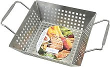APOLLO Deep Grill Pan, Brushed Steel, Silver, 32 x