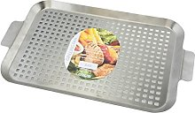APOLLO Grill Tray, Brushed Steel, Silver, 44 x 28