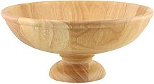 Apollo Rubberwood Footed Fruit Bowl, Natural Wood,
