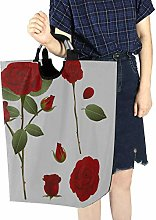 AQQA Collapse Laundry Basket Red Floral Rose