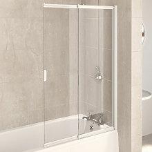 AQUA 4 Two Panel White Frame Sliding Bath Screen