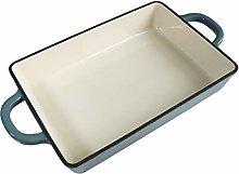Aqua blue cast iron uncoated enamel pan,