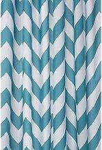 Aqua Chevron Textile Shower Curtain - Croydex