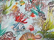 Aqua Sea World Coral Reef Fabric Curtain
