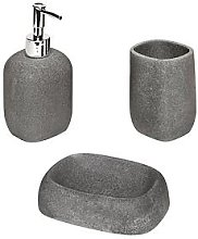Aqualona Grey Stone 3-Piece Bathroom Accessory Set