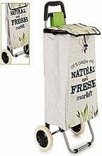 AR Leaf Shopping Cart 2 Wheels, Ecru/Green, 96 x