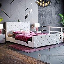 Arabella Double Bed, Light Grey Linen