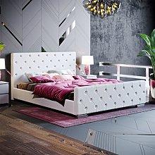 Arabella King Size Bed, Light Grey Linen
