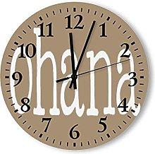 Arabic Numeral Design Wooden Wall Clock, Round