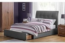 Aramis Fabric Double Bed In Slate Grey Linen With