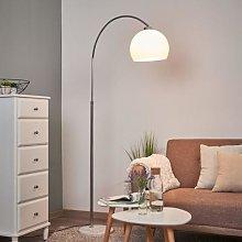 Arc lamp Sveri, marble base and white lampshade