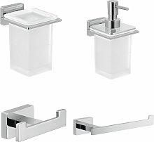 Architeckt - Bathroom 4 Piece Accessory Set Square Wall Mounted Stylish Modern Soap Dispenser