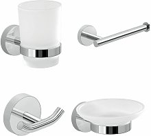Architeckt - Bathroom Chrome 4 Piece Accessory Set Frosted Glass Wall Mounted Soap Dish