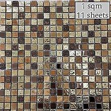 Arctic Vintage Gold Mosaic Tiles Sheet for Walls