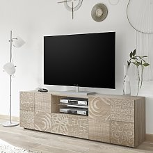 Ardent Wooden TV Stand Wide In Sonoma Oak With 2